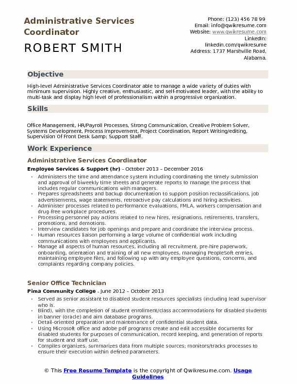 Administrative Services Coordinator Resume Samples QwikResume - filenet administrator sample resume