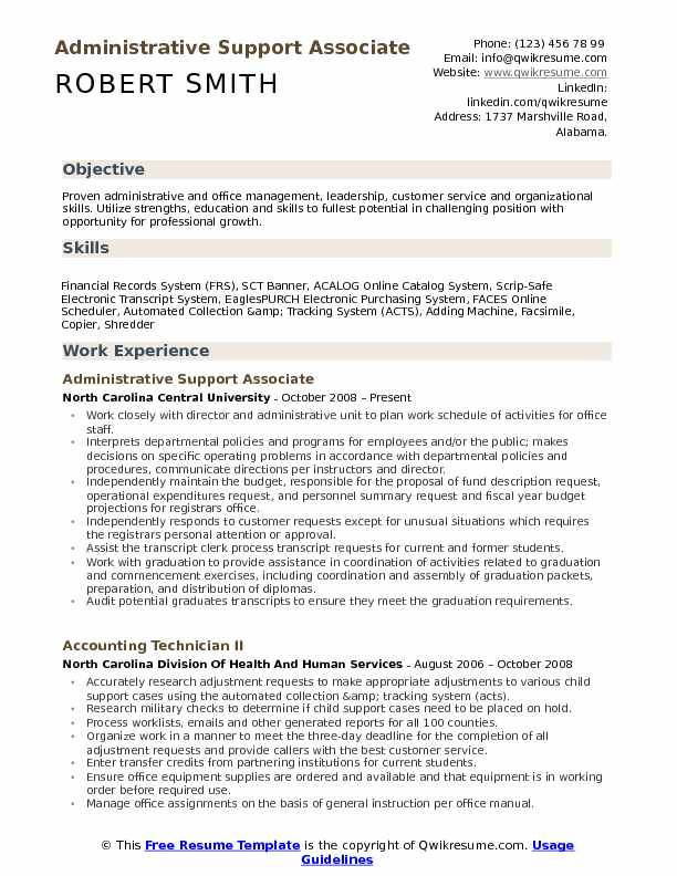 Administrative Support Associate Resume Samples QwikResume