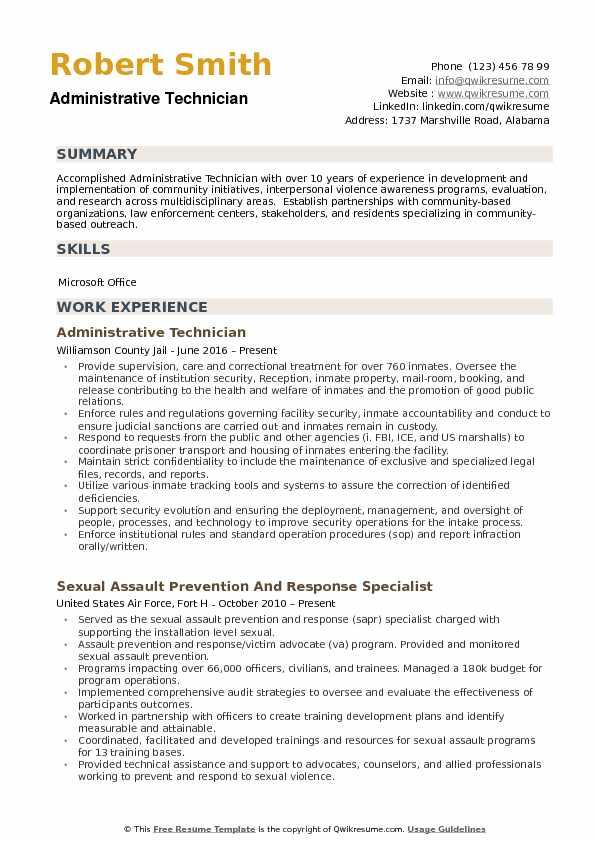 Administrative Technician Resume Samples QwikResume