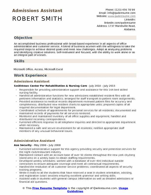 Admissions Assistant Resume Samples QwikResume - customer service assistant resume