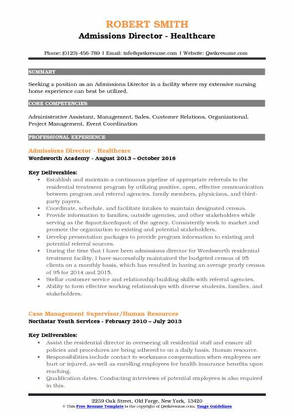 Admissions Director Resume Samples QwikResume - Admissions Officer Sample Resume