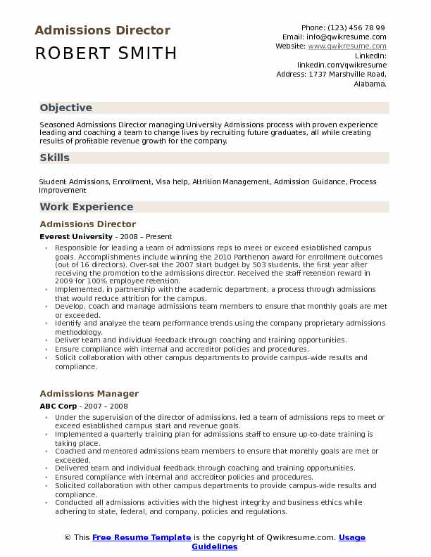 Admissions Director Resume Samples QwikResume