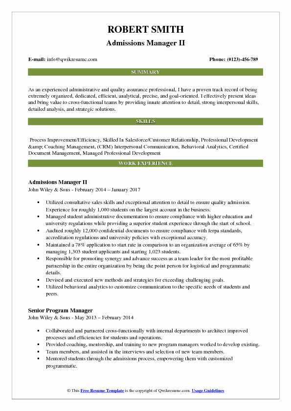 Admissions Manager Resume Samples QwikResume