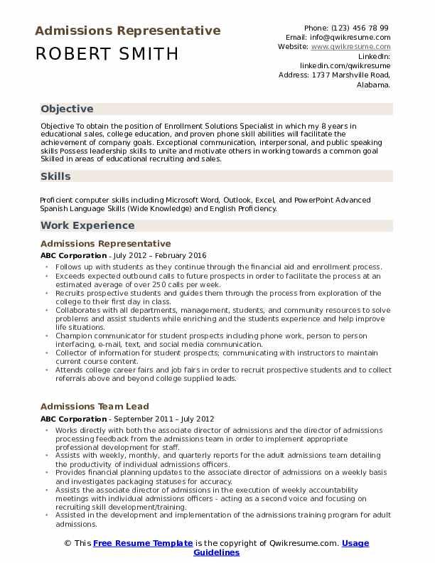 admissions representative sample resume