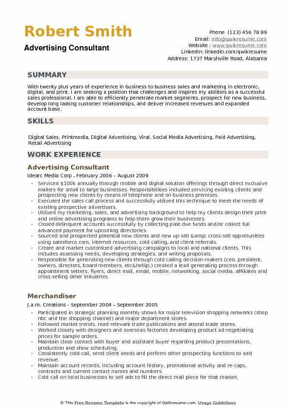 Advertising Consultant Resume Samples QwikResume - digital advertising resume