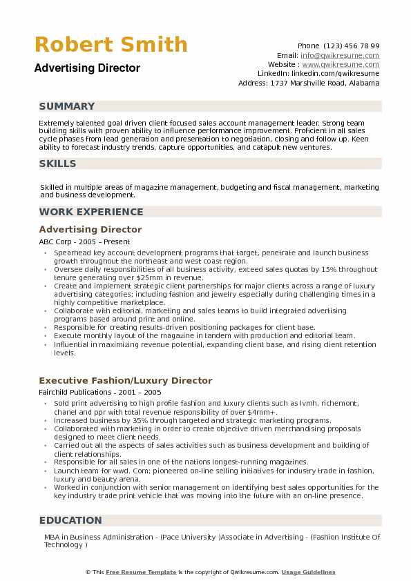 Advertising Director Resume Samples QwikResume