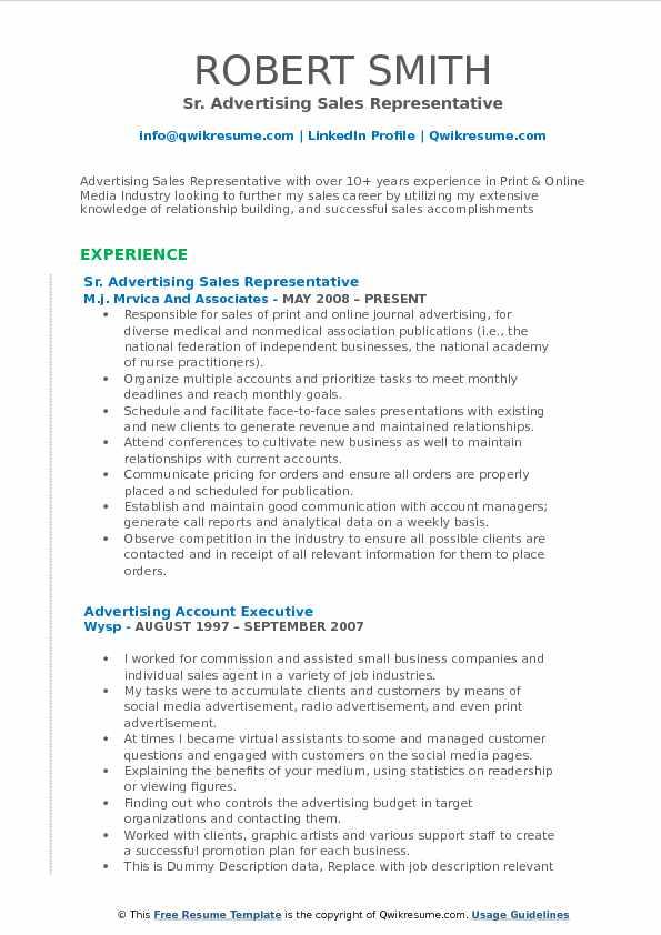 Advertising Sales Representative Resume Samples QwikResume