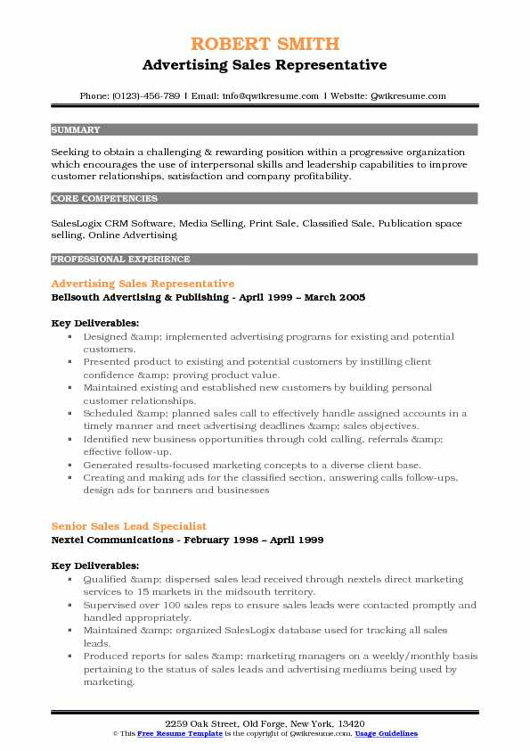 Advertising Sales Representative Resume Samples QwikResume