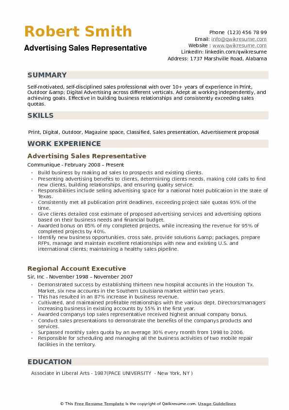 Advertising Sales Representative Resume Samples QwikResume - advertising resume