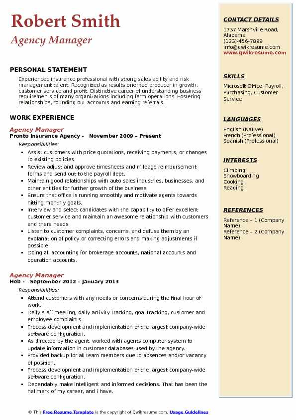 Agency Manager Resume Samples QwikResume