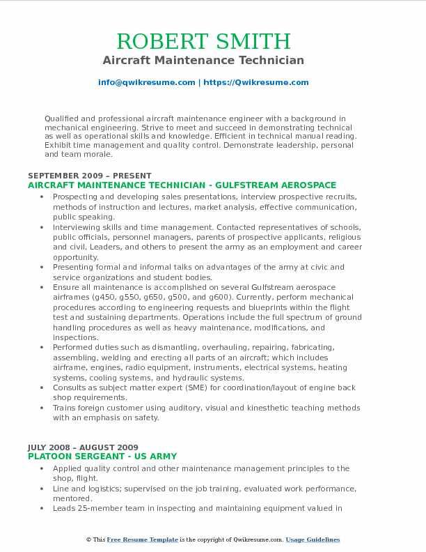 Aircraft Technician Resume Samples QwikResume