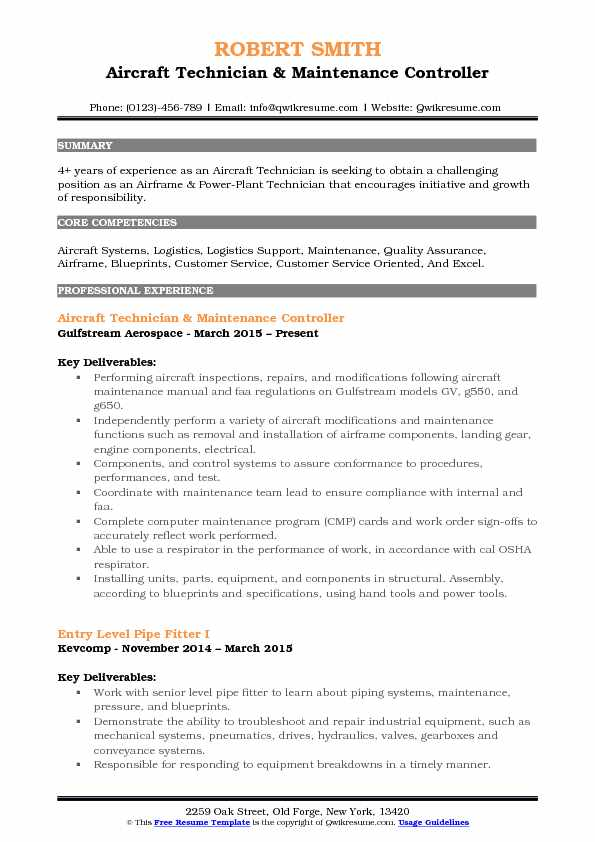 Nursing Resume Objective Aircraft Technician Resume Samples | Qwikresume