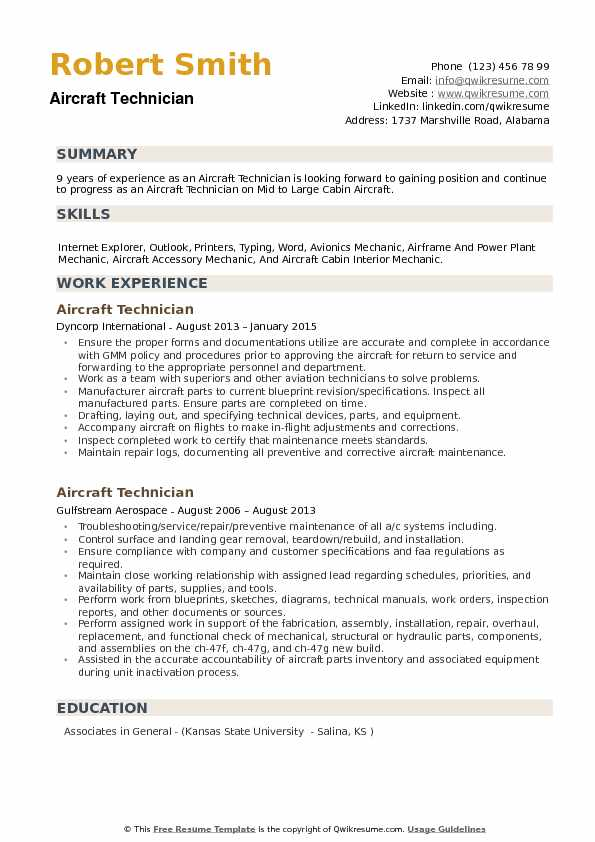 Aircraft Technician Resume Samples QwikResume