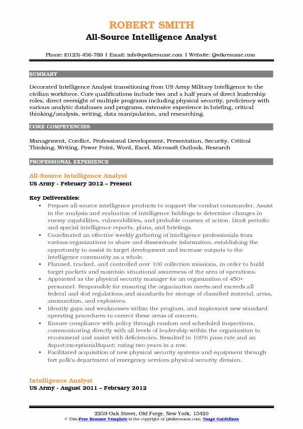 All Source Intelligence Analyst Resume Samples QwikResume