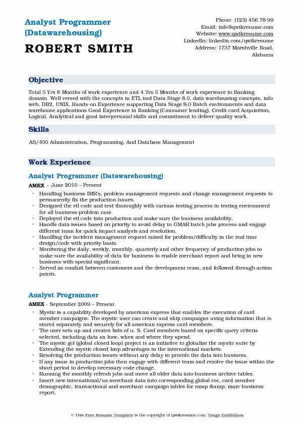 Analyst Programmer Resume Samples QwikResume - programming skills resume