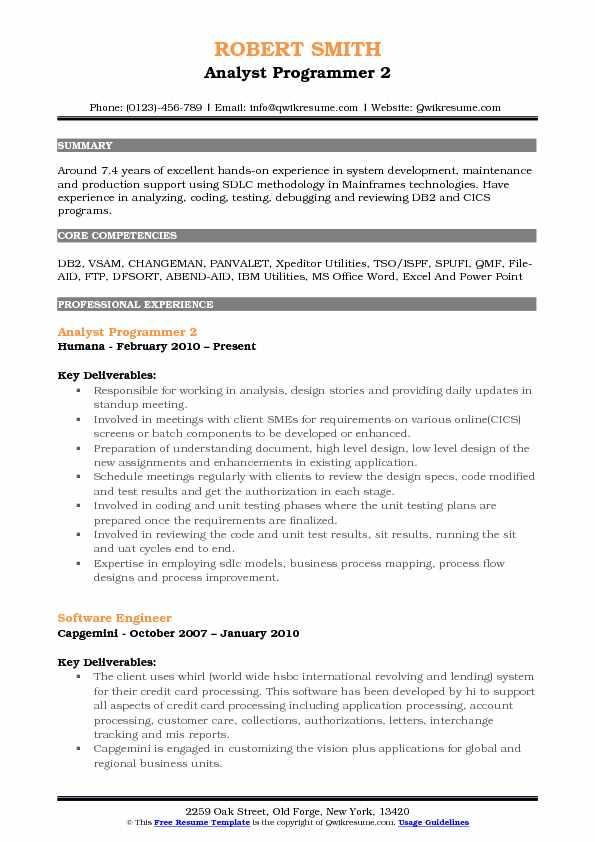 Analyst Programmer Resume Samples QwikResume