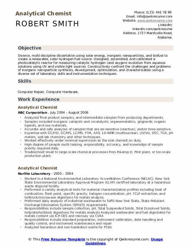 chemistry resume samples