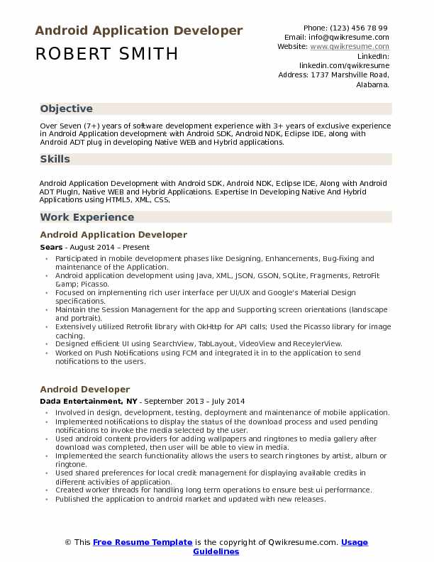 Android Application Developer Resume Samples QwikResume - xml resume example