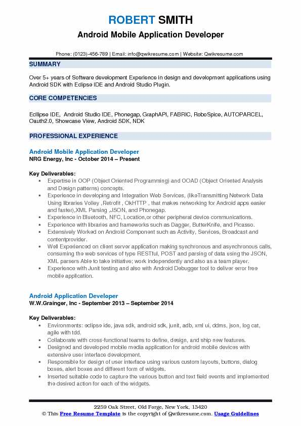 application developer sample resume