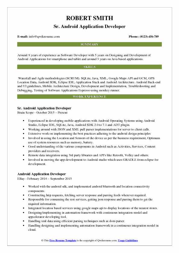 Android Application Developer Resume Samples QwikResume - Resume Format For Experienced Software Engineer