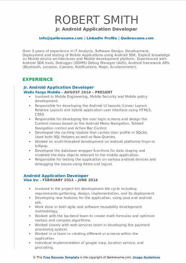 Android Application Developer Resume Samples QwikResume - mobile resume