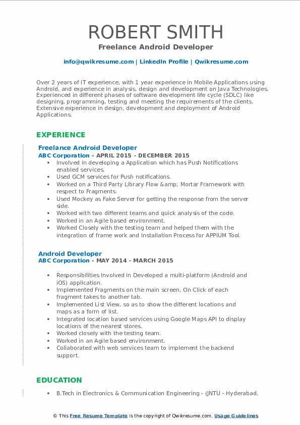 sample freelance testing resume