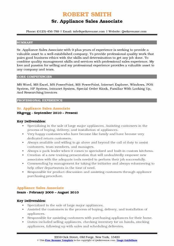 Appliance Sales Associate Resume Samples QwikResume - resume samples for sales associate