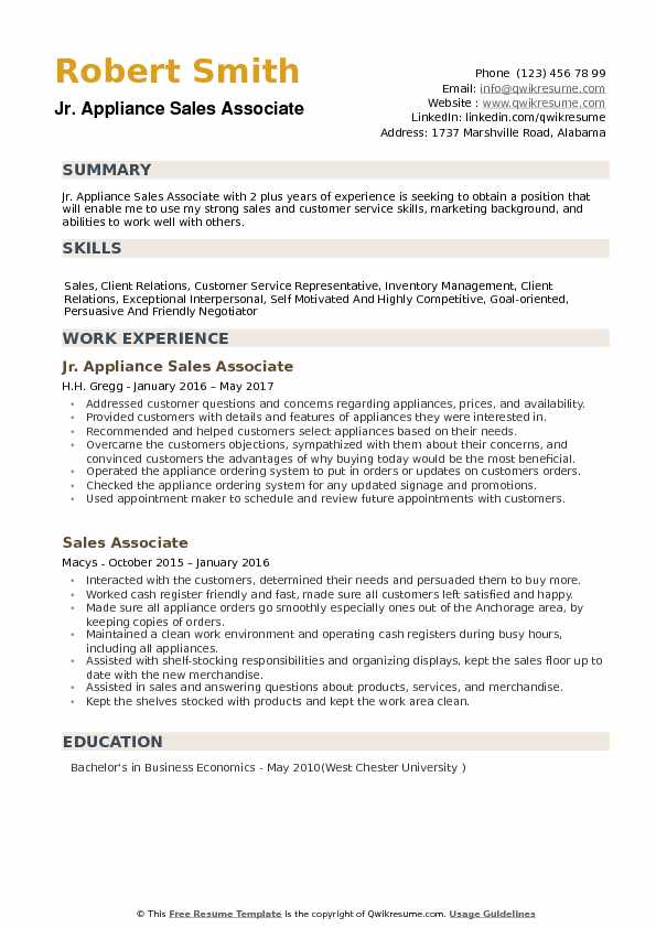 Appliance Sales Associate Resume Samples QwikResume