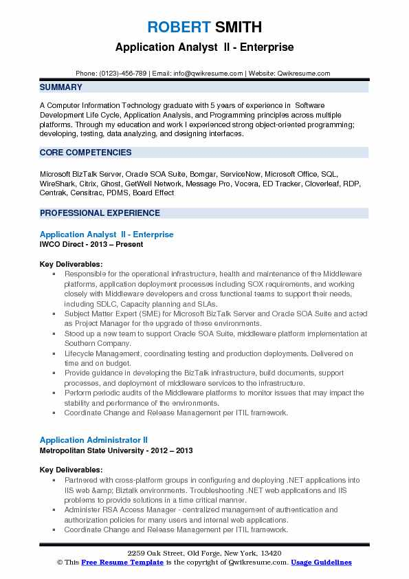 resume of application support analyst