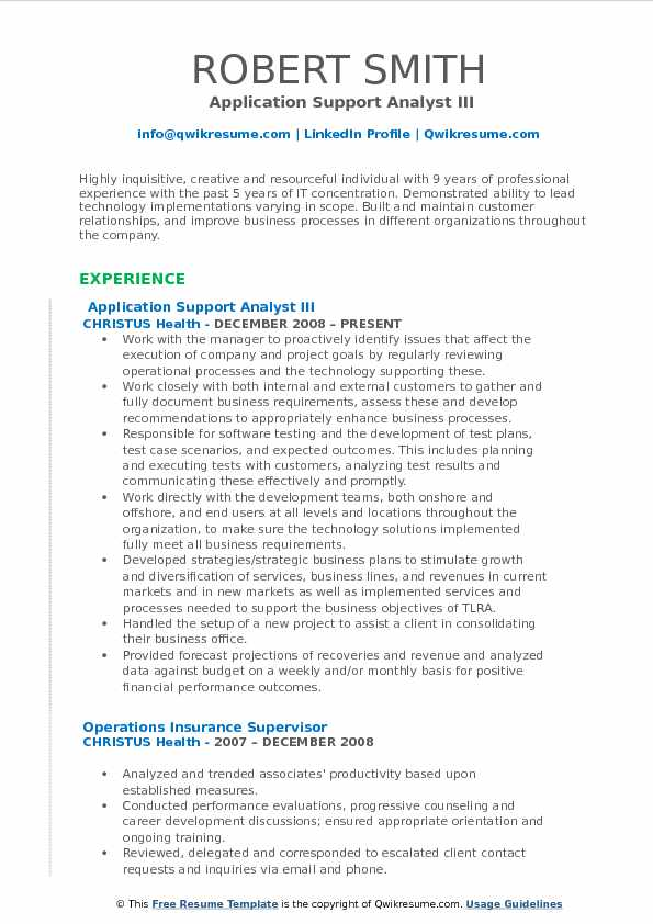 application support analyst resume