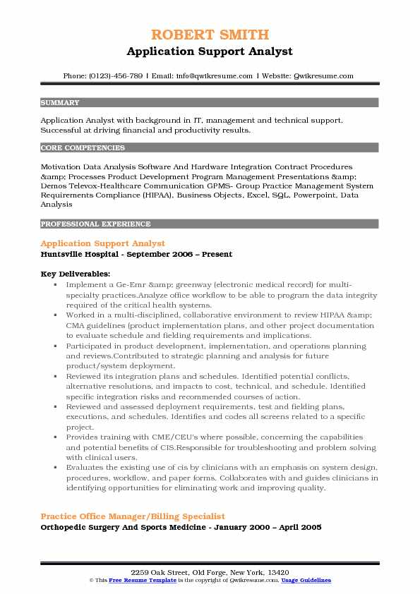 application support experience resume format