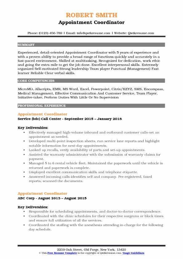 Scheduling Coordinator Resumes referral coordinator resume