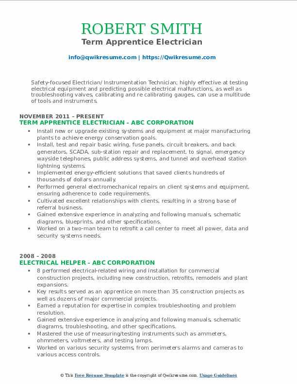 apprentice resume goals