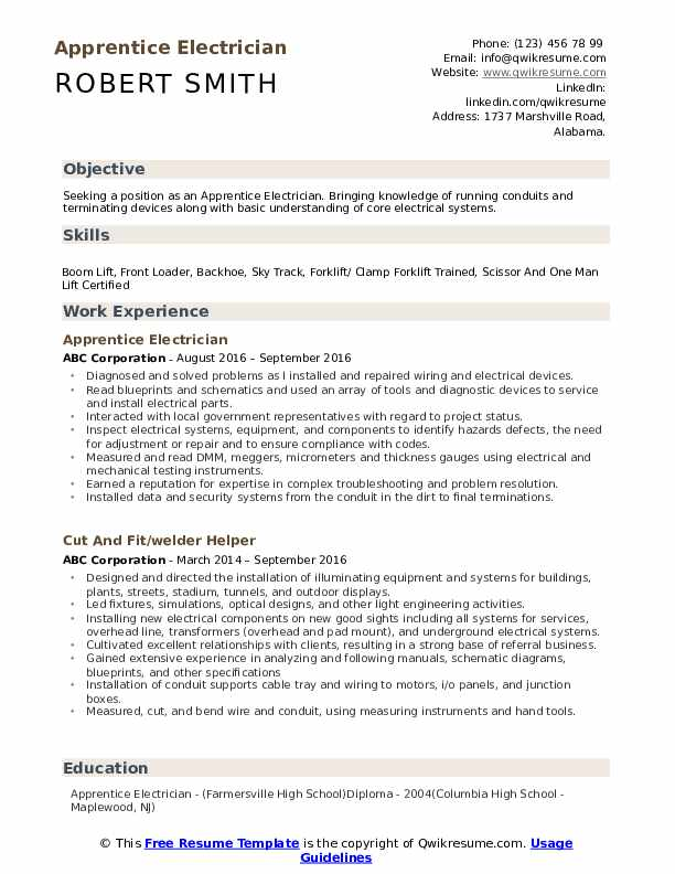 example resume electrician apprentice