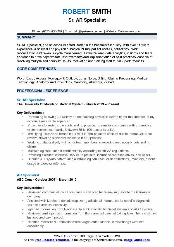 AR Specialist Resume Samples QwikResume