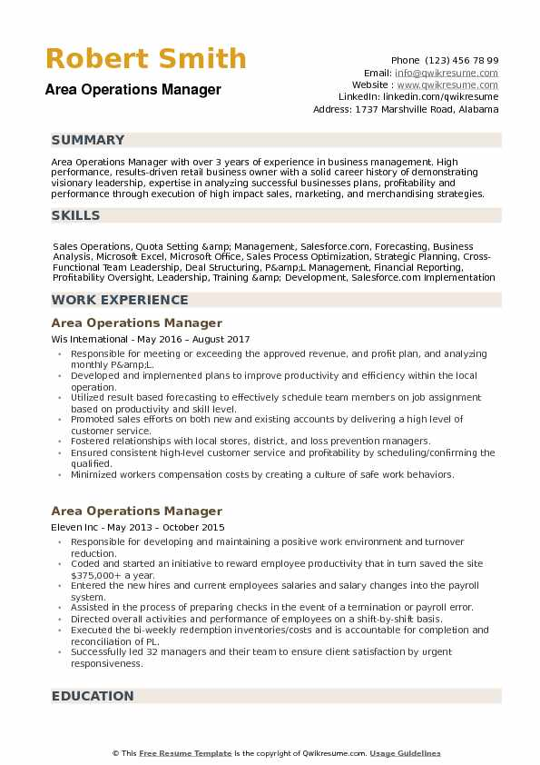 retail area manager resume samples