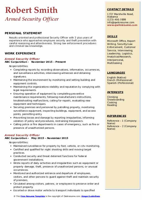 Armed Security Officer Resume Samples QwikResume