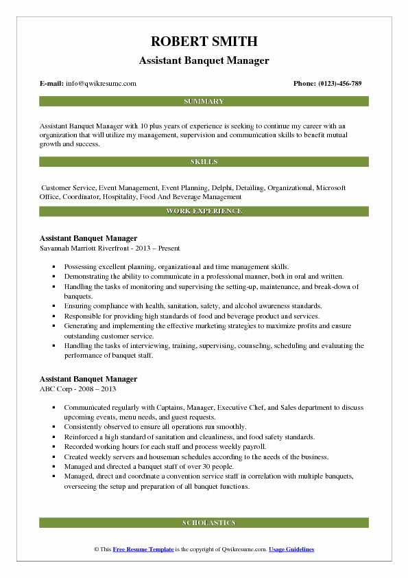 assistant food and beverage manager resume sample