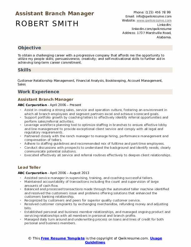 assistant branch manager resume