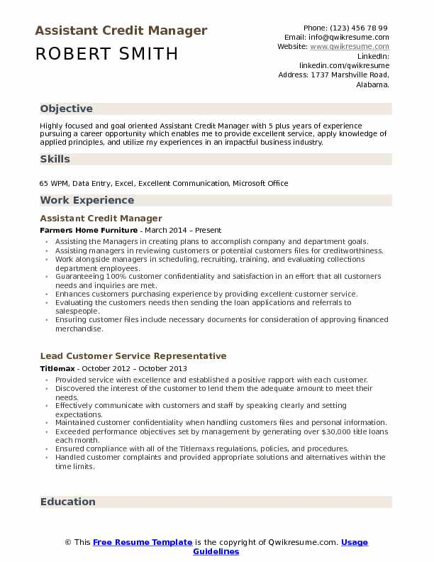 resume objective for credit manager