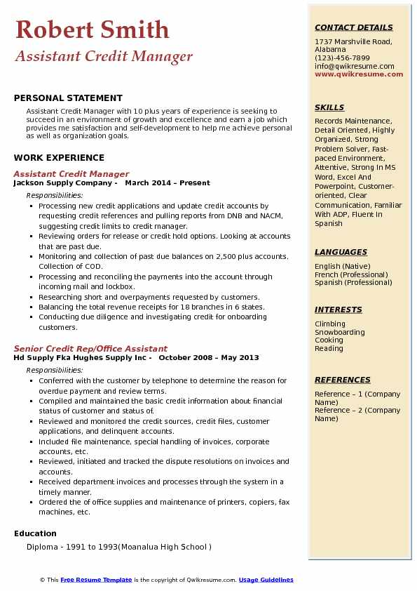 Assistant Credit Manager Resume Samples QwikResume