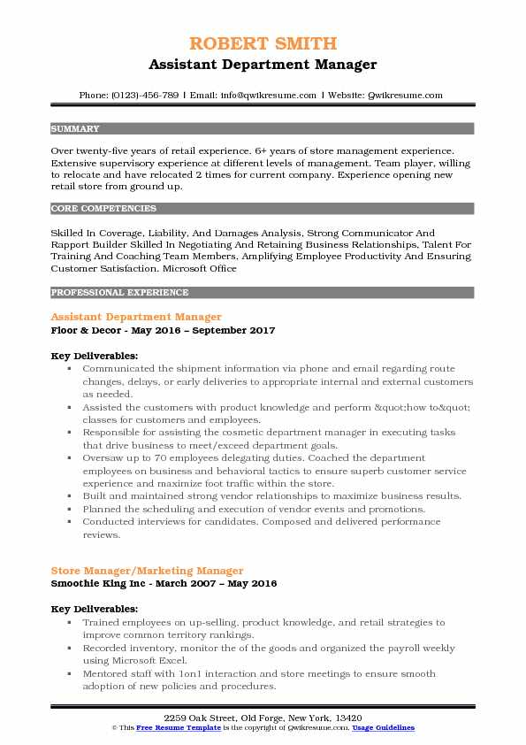 Assistant Department Manager Resume Samples QwikResume - department manager resume