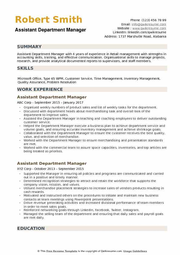 Assistant Department Manager Resume Samples QwikResume