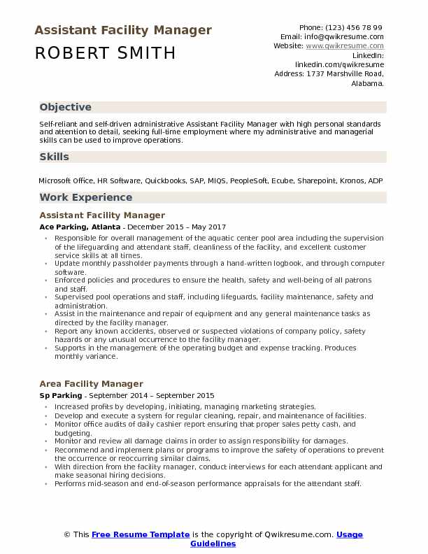 Assistant Facility Manager Resume Samples QwikResume