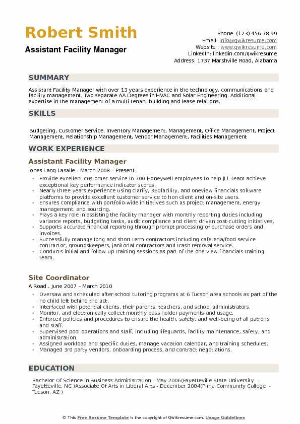 resume objective for assistant facilities manager