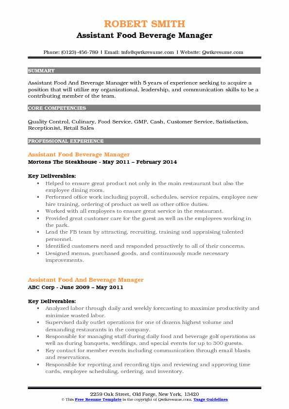 cv anglais assistant food and beverage supervisor example