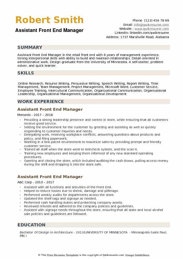 Assistant Front End Manager Resume Samples QwikResume