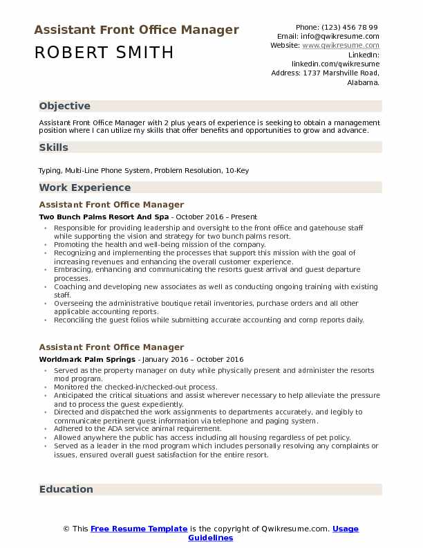 Assistant Front Office Manager Resume Samples QwikResume