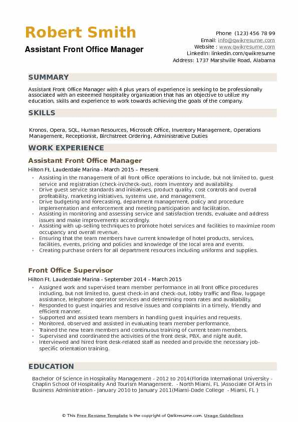 Assistant Front Office Manager Resume Samples QwikResume - Office Manager Skills Resume