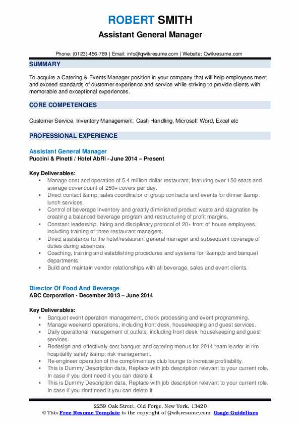 Assistant General Manager Resume Samples QwikResume